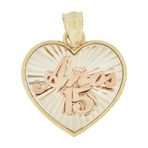 14k Tricolor Gold, Heart Design 15 Pendant Charm Quinceanera 15mm (P035-035)