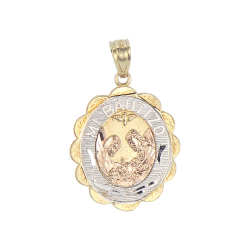 14k Tricolor Gold, Mi Bautizo Baptism Christening Medal Pendant Religious Charm Oval 17mm (P012-035)