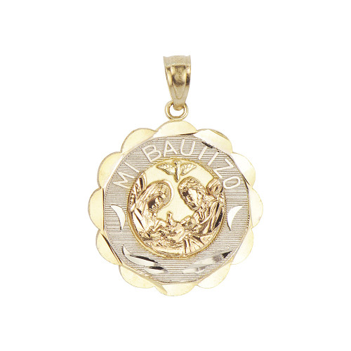 14k Tricolor Gold, Mi Bautizo Baptism Christening Medal Pendant Religious Charm Round 19mm (P012-037)