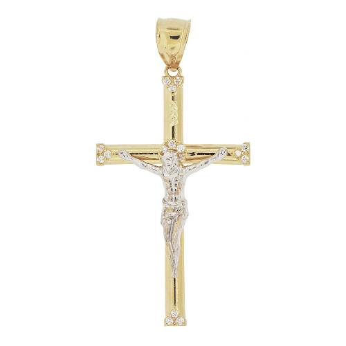 14k Yellow & White Gold, Cross Jesus Christ Crucifix Religious Charm Created CZ Crystals 30mm (P019-032)