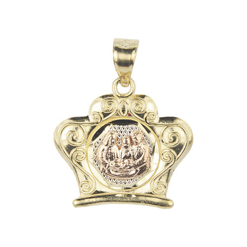 14k Tricolor Gold, Fancy Baptism Christening Pendant Religious Charm Fancy Shape 20mm (P012-040)