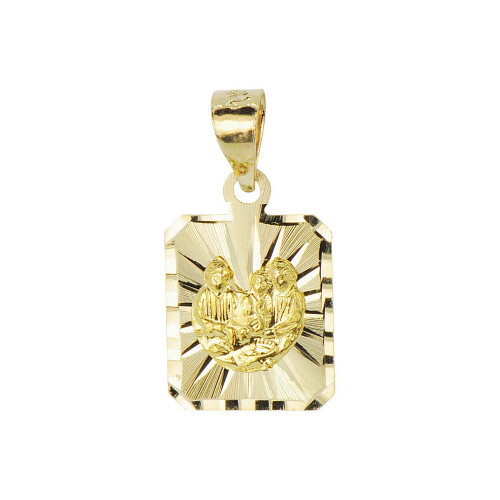 14k Yellow Gold, Small Size Baptism Christening Pendant Religious Charm Square Sparkly Cuts (P012-041)