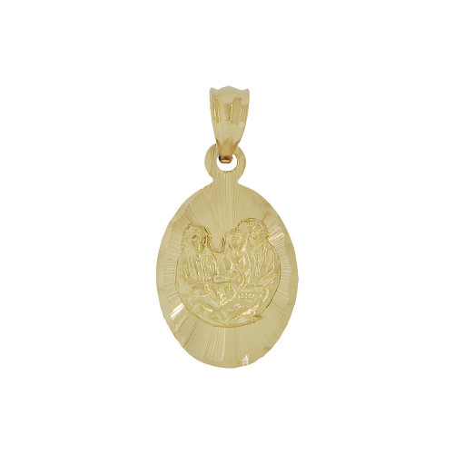 14k Yellow Gold, Small Baptism Christening Pendant Religious Charm Oval 11mm (P012-043)