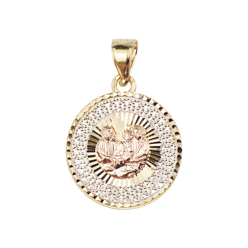 14k Tricolor Gold, Baptism Christening Medal Pendant Religious Charm Round Filigree 18mm (P012-045)