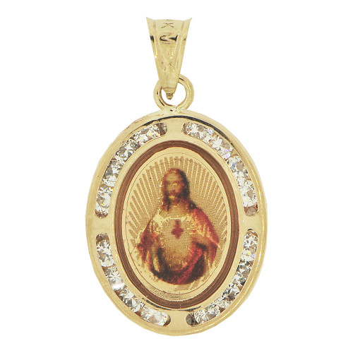 14k Yellow Gold, Color Image Over Gold Divine Christ Religious Pendant Oval Charm Created CZ 14mm (P024-030)