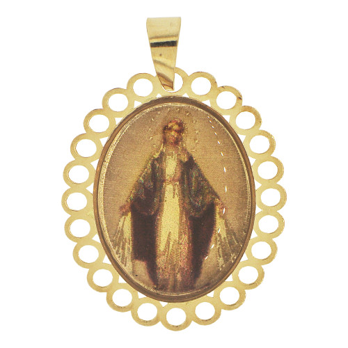 14k Yellow Gold, Color Image Over Gold Virgin Mary Religious Pendant Round Charm  (P024-034)