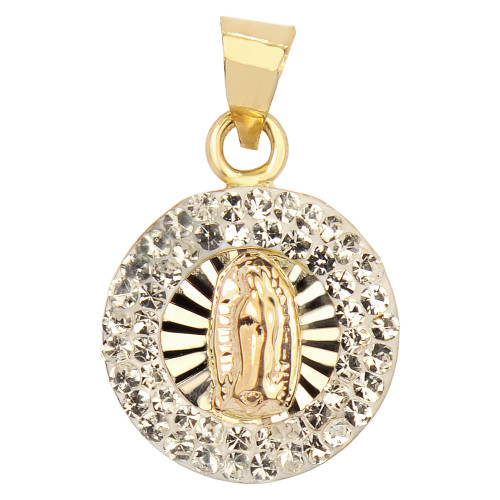 14k Yellow & Rose Gold, Mini Virgin Mary Pendant Religious Charm Created CZ Crystals (P024-037)