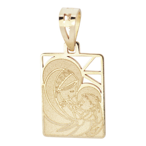 14k Yellow Gold, Small Pendant Charm Virgin Mother Mary & Baby Christ Jesus 11mm (P021-028)