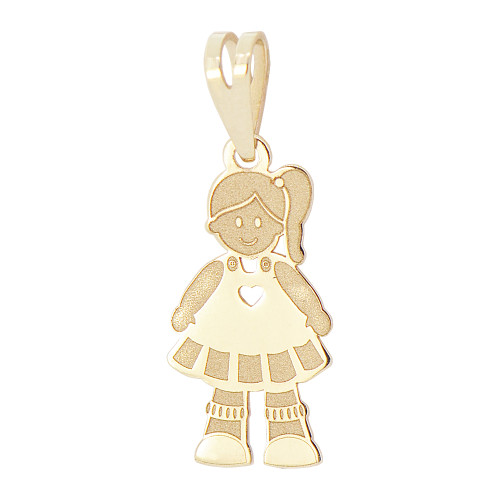 14k Yellow Gold, Adorable Girl Pendant Charm 10mm  (P026-037)