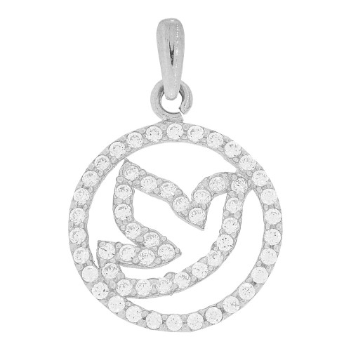 14k White Gold, Small Circle of Life Pendant Charm Holy Spirit Dove Created CZ Crystals 15mm (P021-084)