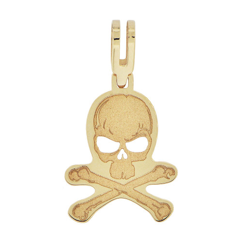 14k Yellow Gold, Small Laser Engraved Skull and Bones Pendant 14mm (P010-003)