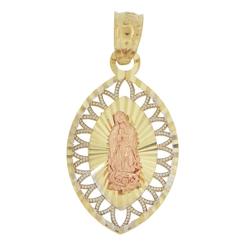 14k Tricolor Gold, Virgin Mary Pendant Filigree Style Religious Charm Sparkly Cuts (P023-034)