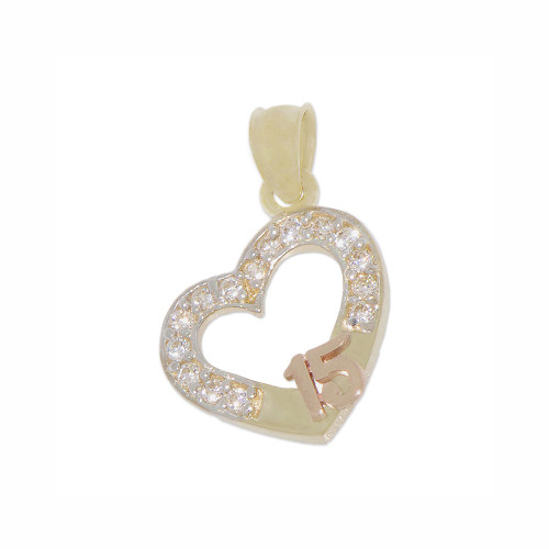 14k Yellow and Rose Gold, Mini Size Heart 15 Anos Quinceanera Pendant Charm Created CZ Crystals (P029-030)