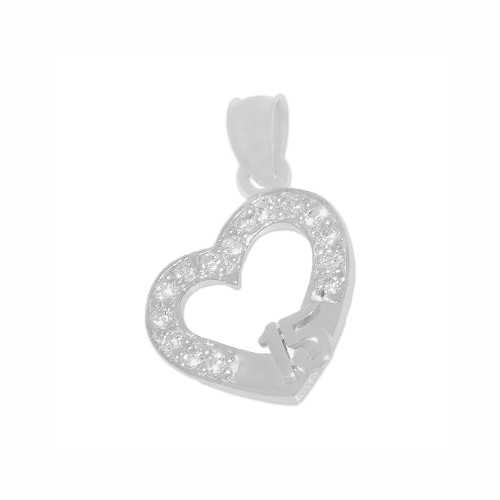 14k White Gold, Mini Size Heart 15 Anos Quinceanera Pendant Charm Created CZ Crystals 12mm (P029-080)