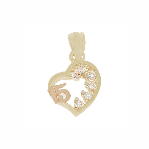 14k Yellow and Rose Gold, Mini Size Heart 15 Anos Quinceanera Pendant Charm Created CZ Crystals 10mm (P029-031)