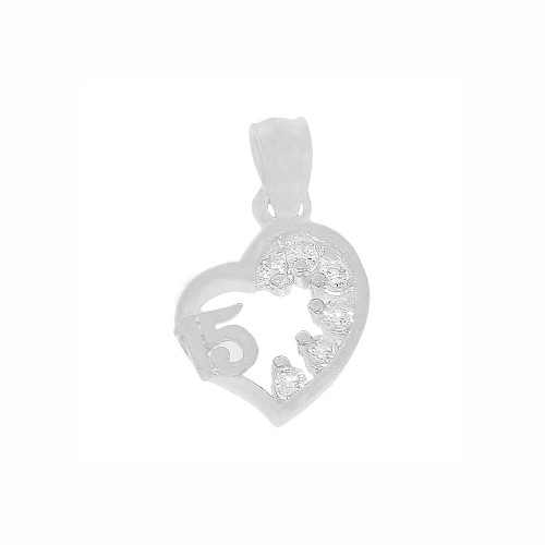 14k White Gold, Mini Size Heart 15 Anos Quinceanera Pendant Charm Created CZ Crystals 10mm (P029-081)