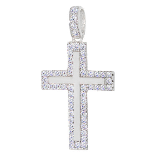 14K Gold White Rhodium, Modern Cross Pendant Religious Charm Created CZ Crystals 15mm (P019-092)