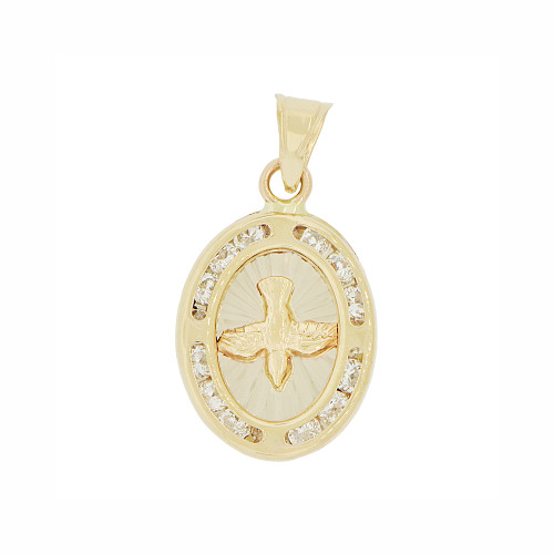 14k Yellow Gold, Small Peace Holy Spirit Dove Religious Pendant Charm Created CZ Crystals 12mm (P023-038)