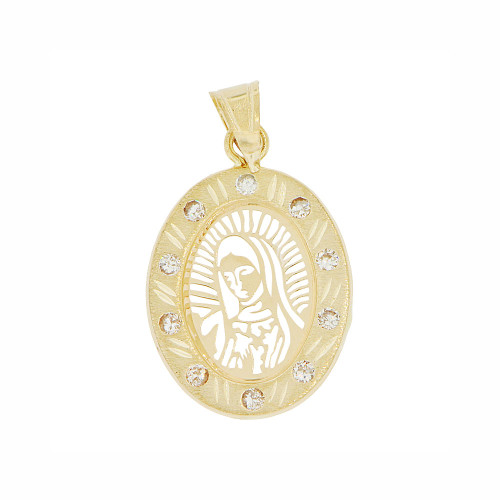 14k Yellow Gold, Laser Cut Out Virgin Mary Pendant Religious Charm Created CZ Crystals (P023-037)