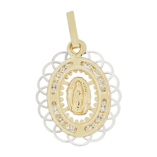 14k Yellow Gold White Rhodium, Virgin Mary Guadalupe Pendant Religious Charm Created CZ Crystals 16mm (P023-035)
