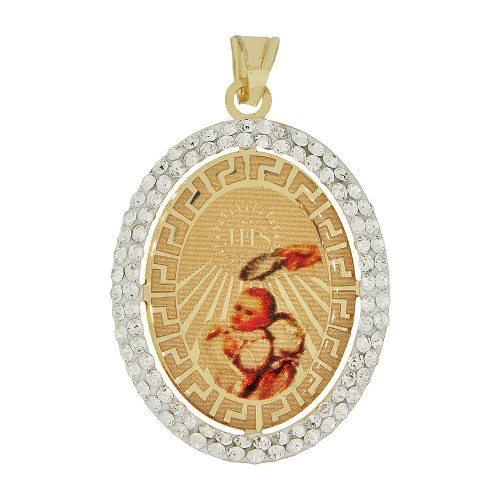 14k Yellow Gold, Reversible Religious Baptism Christening Virgin Mary Charm Created CZ Crystals 20mm (P021-038)