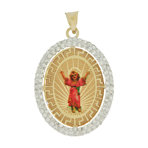 14k Yellow Gold, Reversible Religious Infant Jesus Baptism Christening Charm Created CZ Crystals 20mm (P021-039)