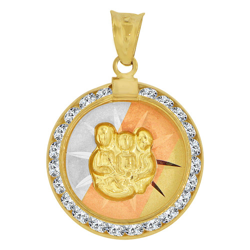 14k Tricolor Gold, Baptism Christening Religious Pendant Charm Created CZ Crystals (P007-026)