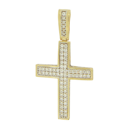 14k Yellow Gold White Rhodium, Classic Cross Pendant Religious Charm Created CZ Crystals 21mm (P017-028)