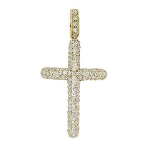 14k Yellow Gold White Rhodium, Classic Cross Pendant Religious Charm Created CZ Crystals 21mm (P017-029)
