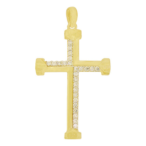 14k Yellow Gold, Modern Cross Pendant Religious Charm Created CZ Crystals (P017-031)