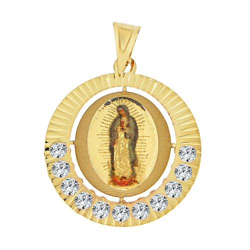 14k Yellow Gold, Laser Engraved Virgin Mary Pendant Charm Created CZ Crystals Enamel Coating 20mm (P034-031)