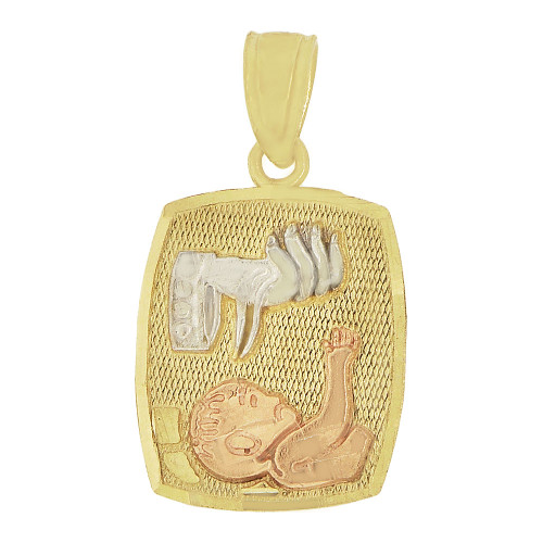 14k Tricolor Gold, Small Baptism Christening Medal Pendant Religious Charm 11mm (P012-047)