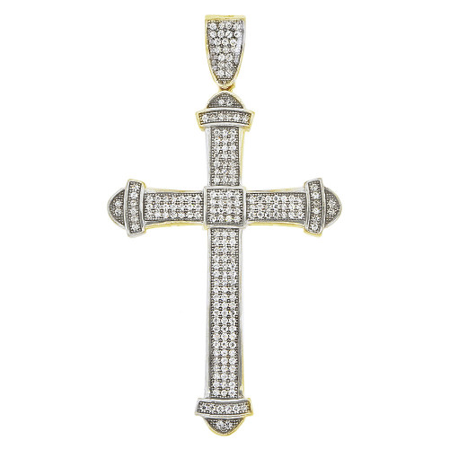 14k Yellow Gold White Rhodium, Modern Design Cross Religious Pendant Charm Created CZ Crystals (P014-013)
