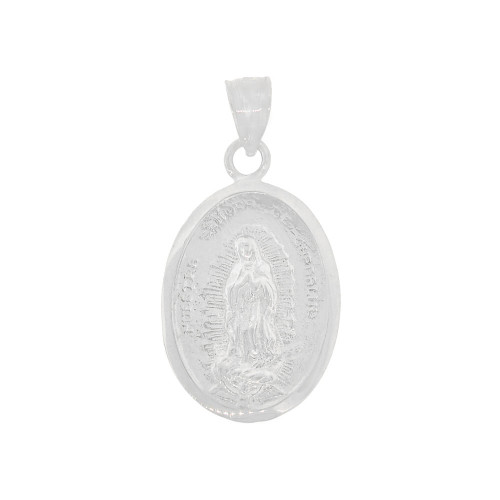 14K Gold White Rhodium, Virgin Mary Guadalupe Pendant Religious Charm Medal Oval 14.5mm (P015-068)
