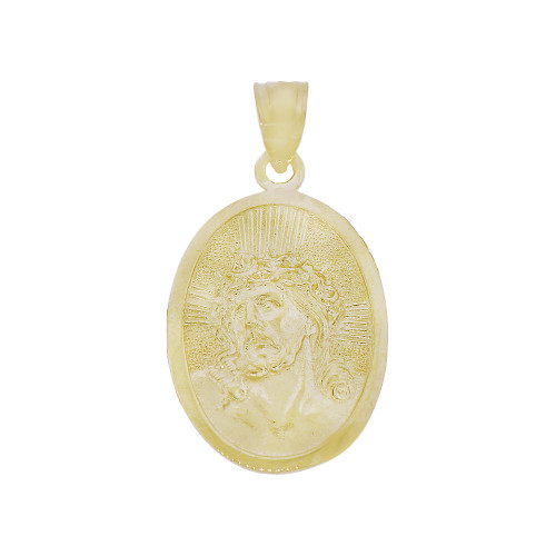 14k Yellow Gold, Jesus Christ Face Religious Pendant Charm Oval Medal 14.5mm (P015-019)