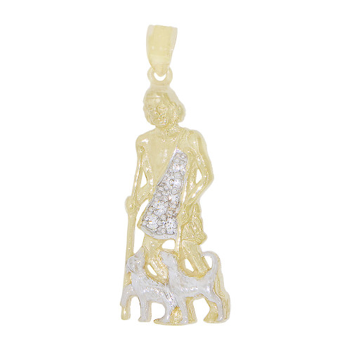 14k Yellow Gold White Rhodium, Saint Lazarus Medal Religious Pendant Created CZ Crystals 14mm Wide (P022-033)
