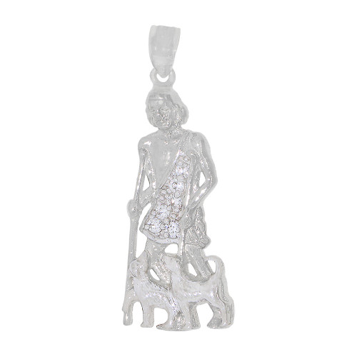 14k White Gold, Saint Lazarus Medal Religious Pendant Charm Created CZ Crystals 14mm Wide (P022-083)