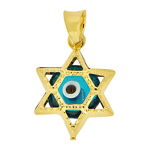 14k Yellow Gold, Mini Star of David Shape Blue Evil Eye Pendant Charm Sparkly Cuts (P009-026)