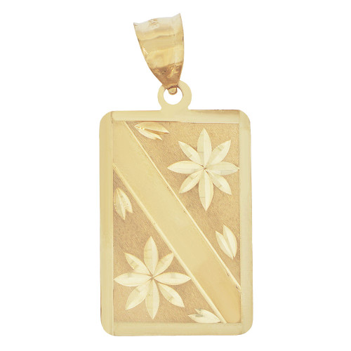 14k Yellow Gold, Fancy Engraved Pendant Charm Rectangular Sparkly Cuts (P037-016)