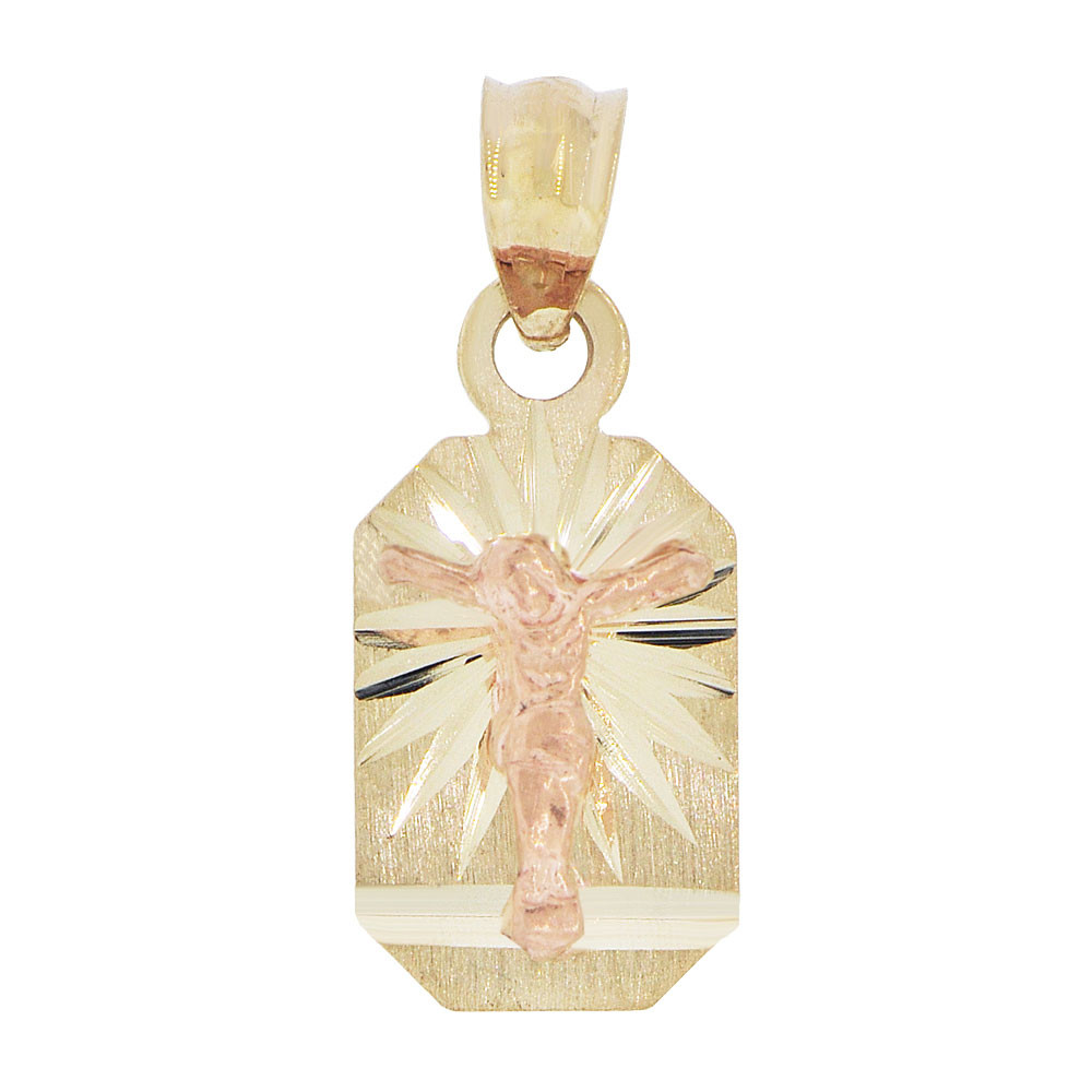Small Virgin Mary Religious Pendant Oval Charm 11mm 14k Yellow /& Rose Gold