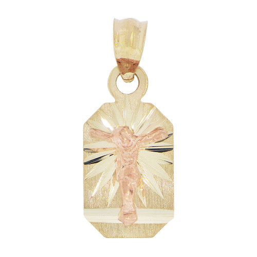 14k Yellow & Rose Gold, Small Christ Jesus Crucifixion Religious Pendant Octagon Charm 8mm (P038-009)