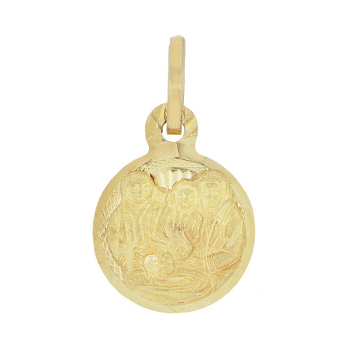 14k Yellow Gold, Mini Baby Infant Baptism Christening Religious Pendant Round Charm 10mm (P039-001)