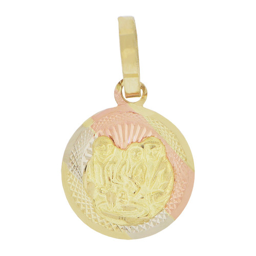 14k Tricolor Gold, Small Baptism Christening Religious Pendant Round Charm 13mm (P039-004)