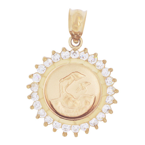 14k Yellow Gold, Baptism Christening Medal Pendant Charm Created CZ Crystals (P040-001)