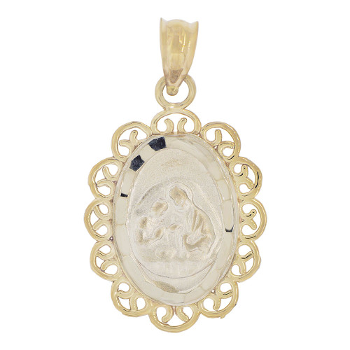 14k Yellow & White Gold, Communion Confirmation Medal Pendant Charm Oval (P040-004)