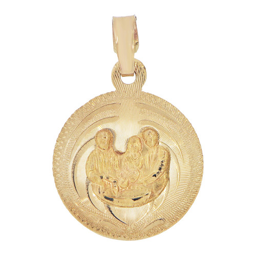 14k Yellow Gold, Baptism Christening Religious Pendant Charm Sparkly Cuts (P037-024)