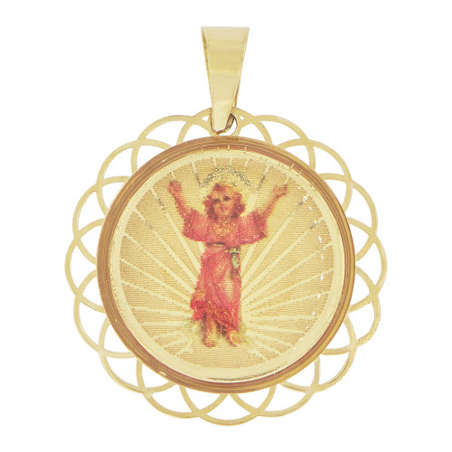 14k Yellow Gold, Religious Pendant Charm Divine Infant Child Jesus Christ Round 18mm (P036-041)