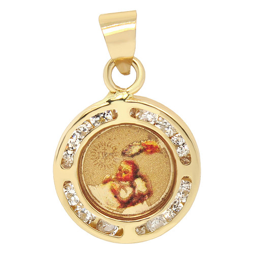 14k Yellow Gold, Mini Colorful Baptism Christening Pendant Charm Created CZ 11mm (P036-042)