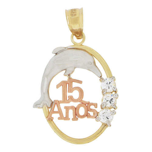 14k Tricolor Gold, Quinceanera 15 Anos Oval Pendant Charm Jumping Dolphins Created CZ 18mm (P037-025)
