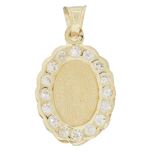 14k Yellow Gold, Laser Engraved Virgin Guadalupe Design Oval Pendant Created CZ Crystals (P040-038)